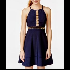 Emerald sundae navy blue cut out dress